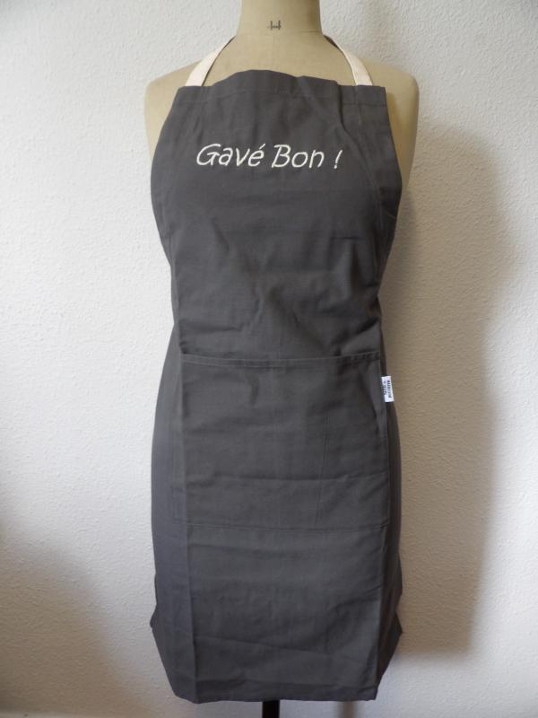 "Tablier gris anthracite ""Gavé Bon"""