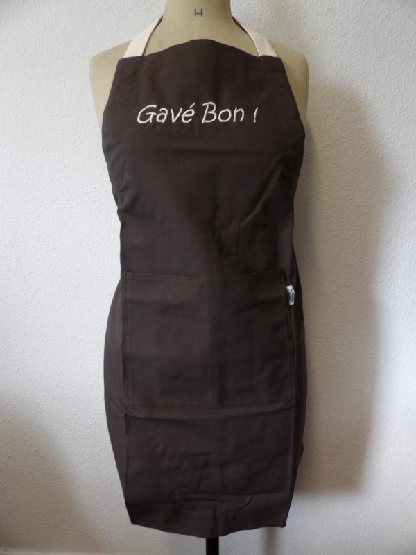 "Tablier marron ""Gavé Bon"""